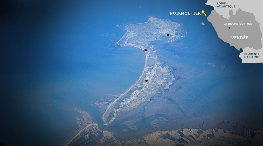 Carte des spots de kitesurf de Noirmoutier / Fromentine / Vendée