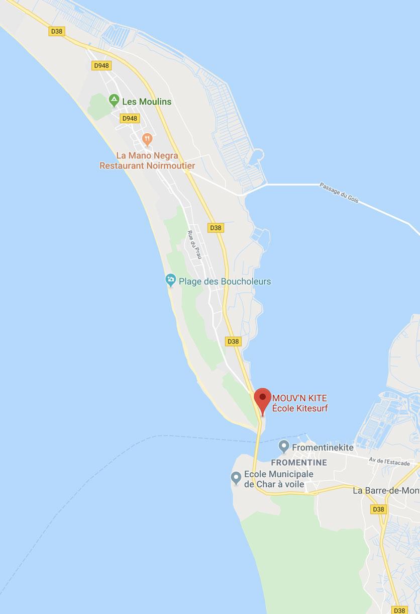 Mouvnkite plan acces ecole kitesurf Noirmoutier / Fromentine
